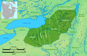 Territory of the 5 Iroquois Nation, approx. 1650