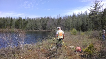 Surveyors at work on Mud Lake