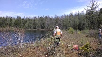 Surveyors at work on Mud Lake
