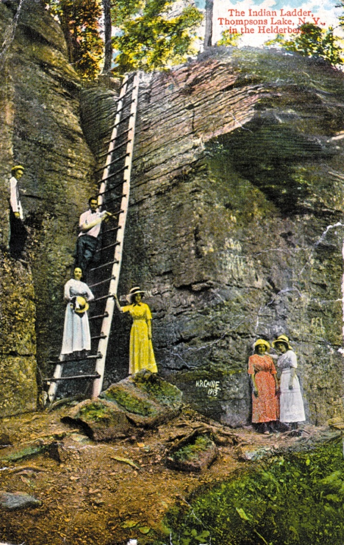 A 1920s postcard showing the original ladder on the Indian Ladder Trail.