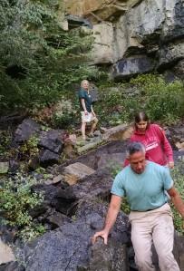 The team scrambles over rocks! By P. Harper