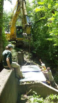Karen Terbush assists with a mycelium installation project at Lake Erie State Park. The aim of the project is to reduce bacteria levels in a stream that feeds into the former beach area.