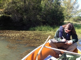 Lauren Townley records water quality data in the Finger Lakes region.
