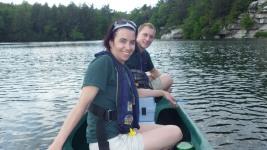 Melyssa Smith and Dan Munsell monitor water quality on Lake Minnewaska.