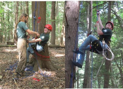 forest-health-specialists-jacob-sidey-and-abigail-pierson-prepare-to-climb-a-hemlock-at-r-treman-state-park-and-abigail-shows-how-they-climb-using-ropes-and-no-spikes-sarah-travalio-state-parks