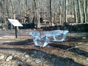 Ice version The Knickerbocker Bench was created by artist Timothy Englert to pay tribute to the Knickerbocker Ice Houses at Rockland Lake, photo by Timothy Englert