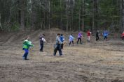 Waldorf School students spreading wild lupine (Lupinus perennis) seed in a cleared field in 2016 , photo by John Rozell, State Parks