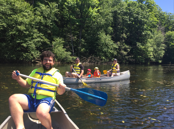 Aaron Donato and canoeing group