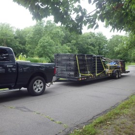 Floating wetland materials arrive by truck in late July 2017, photo by State Parks