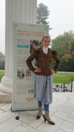 Author Kjirsten Gustavson in her bicycling suit at Staatsburg State Historic Site lighter