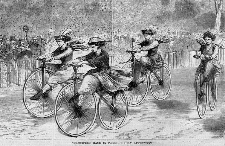 Women in an early velocipede rac, portrayed as masculine-looking, Harpers 1869
