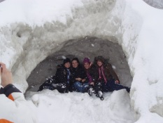 Posing inside an ice volcano at Evangola State Park, photo by State Parks.