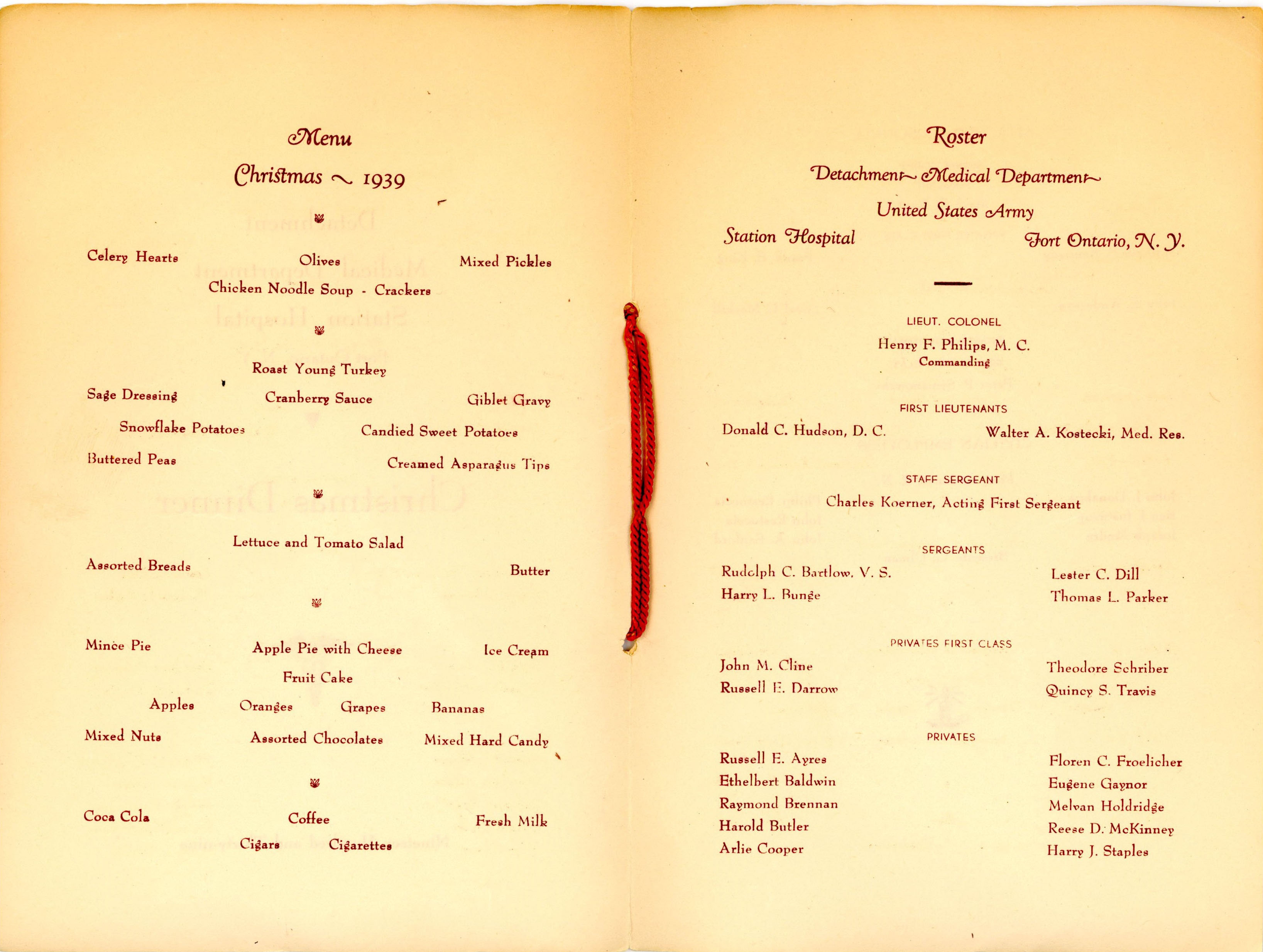 Fort Ontario Christmas dinner menu 1939