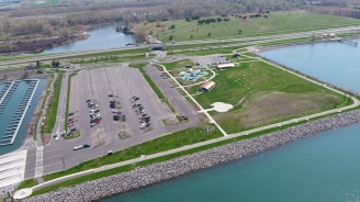 Areal view of Buffalo Harbor State Park accessible trail