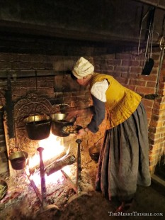 Cooking over the hearth in Crailo State Historic Site