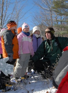 13_kids and park guide on snowy hike